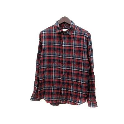 【中古】エディフィス EDIFICE ネルシャツ チェック 長袖 48 茶 ブラウン 紺 ネイビー /MN メンズ 【ベクトル 古着】