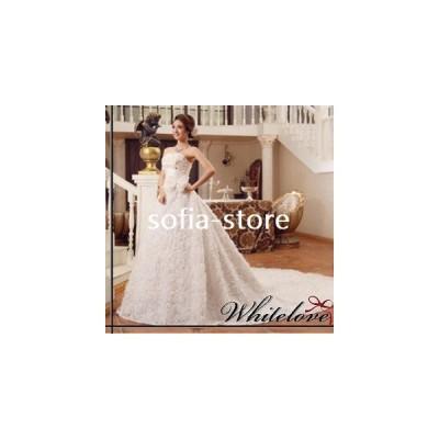 ドレス&衣装カバーのセット ウエディングドレス プリンセス Aライン ロングドレス ベアトップ トレーンスカート 花嫁 二次会 衣装