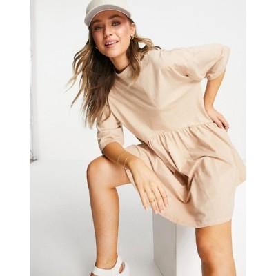 エイソス レディース ワンピース トップス ASOS DESIGN oversized mini smock dress with dropped waist in camel