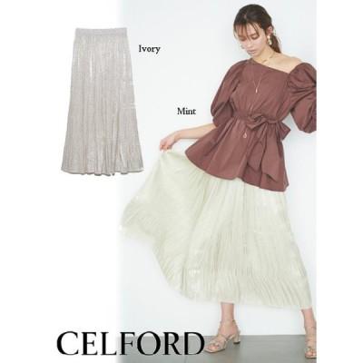 CELFORD  セルフォード オーロラサテンプリーツスカート  21春夏 CWFS211037 フレアスカート