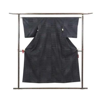 リサイクル着物 紬 正絹黒地袷大島紬アンサンブル