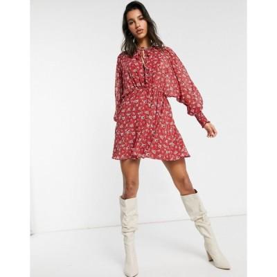 エイソス ミニドレス レディース ASOS DESIGN dobby tie front batwing mini dress in red based ditsy floral print エイソス ASOS レッド 赤