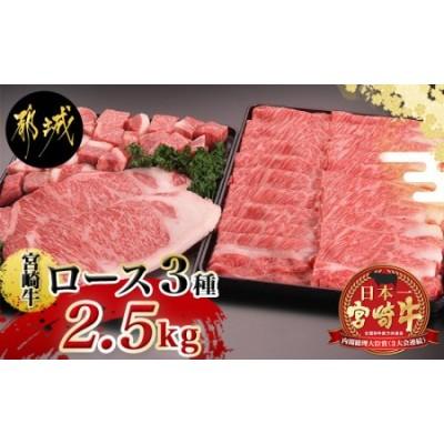 宮崎牛ロースいろいろ3種2.5kgセット_AJ-2502