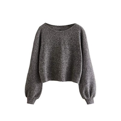 Floerns Women's Solid Boat Neck Long Lantern Sleeve Pullover Thin Sweater T