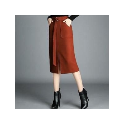EA0650 スカート 秋色 大きいサイズ ウエストベルト 秋 冬 カジュアル 3397