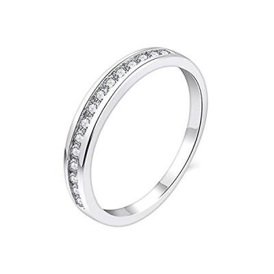 特別価格YL スタッカブルリング スターリングシルバー キュービックジルコニア 模造ダイヤモンド エタニティリング 女性用好評販売中