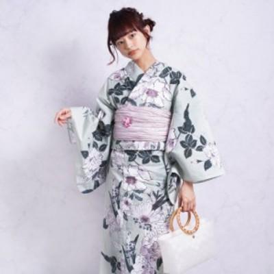 浴衣 セット レディース 浴衣 3点セット(浴衣/帯/下駄)日本製生地 国内染色 和歌山染工 緑 ライトグリーン 紫 青緑 ラベンダー