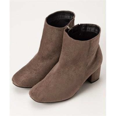【ゆったり幅】スクエアトゥチャンキーヒールショートブーツ(低反発中敷)(ワイズ4E) ブーツ・ブーティ, Boots