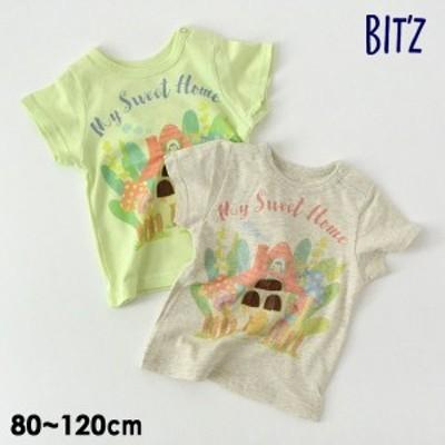 ビッツ B307041-12mm お家プリント半袖Tシャツ キッズ ベビー トップス 半そで イラスト 水彩 子供服 Bitz 4023917