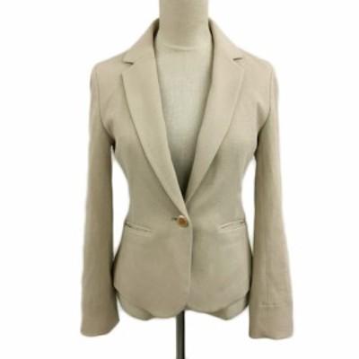 【中古】クリアインプレッション CLEAR IMPRESSION ジャケット テーラード シングル 長袖 2 ベージュ レディース