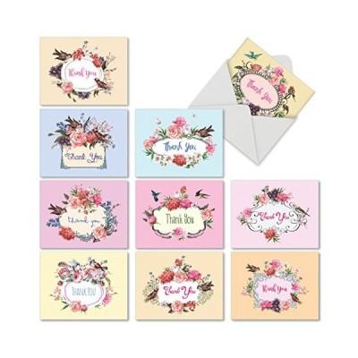 鳥と花誕生日ユーモア用紙カード 10 Assorted Blank Note Cards M6577TYB輸入品