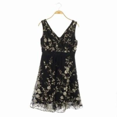 【中古】ダイアグラム グレースコンチネンタル チュール 刺繍 ワンピース ひざ丈 ノースリーブ 34 ブラック ホワイト