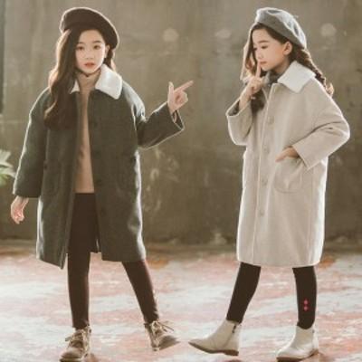 韓国子供服 アウター オシャレ 厚手 キッズ 女の子 ベビー アウター ミドル丈 無地 ラペル 子供 コート 冬着 防寒 暖かい 可愛い お出か