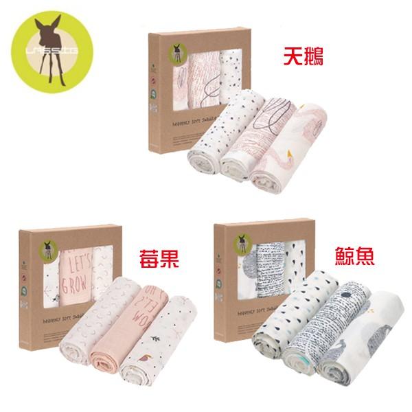 LASSIG 超柔手感竹纖維嬰兒包巾毯80x80cm(3入)