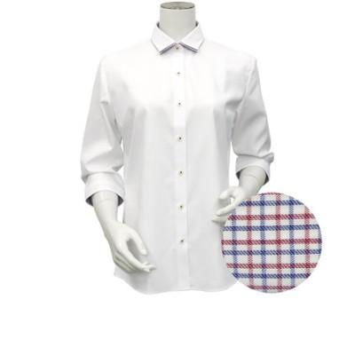レディース ウィメンズシャツ 七分袖 形態安定 ワイド ダブル衿 白×織柄 (透け防止)