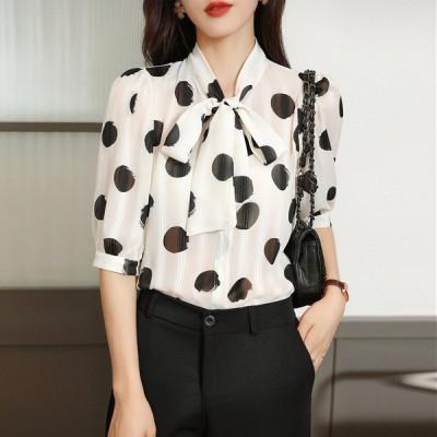 シフォンシャツ 五分袖 リボン付き シャツブラウス トップス 通勤 オフィス シャツ フォーマル ブラウス レディース ファッション エレガント 20代 30代