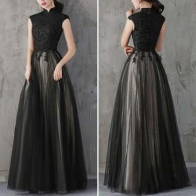 ロングドレス 黒 パーティードレス 春夏 結婚式 大きいサイズ マキシ丈 フレンチスリーブ 袖あり Aライン チュール シフォン 30代