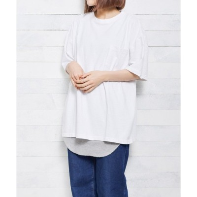 tシャツ Tシャツ 【W】【it】【select ITEM】2piece layered S/S crewneck pullover - 2ピースレイ