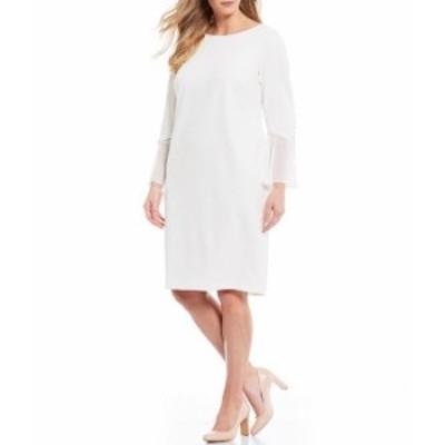 カルバンクライン レディース ワンピース トップス Plus Size Bell Sleeve Sheath Dress Cream