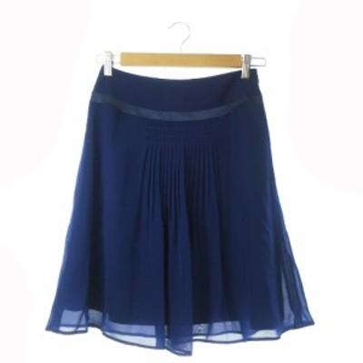 【中古】ノーリーズ Nolley's スカート フレア ひざ丈 シフォン 36 青 ブルー /CK16 ☆ レディース