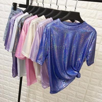 メタリック シャツ ブラウス 光沢 半袖 ラウンドネック ゆったり キラキラ ロングT レディーストップス カラーシャツ スタイリッシュ 韓国 hiphop ダンス衣装