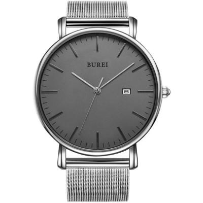 BUREI メンズ クラシック ミニマリスト 腕時計 ファッションステンレススチールメッシュバンド ダークグレーシルバー針。