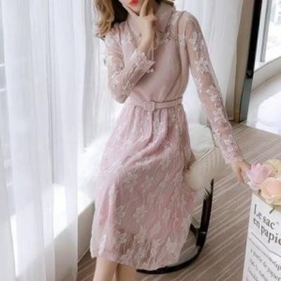 韓国 ファッション レディース ワンピース ロング セクシー ハイウエスト モコモコ 長袖 レース 透け感 パーティー お呼ばれ 結婚式 二次