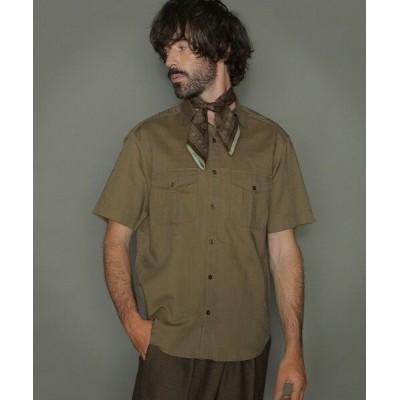 MACKINTOSH LONDON(MENS)/マッキントッシュ ロンドン  メンズ 綿麻半袖サファリシャツ ブラウン2 LL