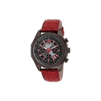 インヴィクタ 腕時計 Invicta 18440 メンズ World Navigator クロノグラフ レッド レザー ストラップ 腕時計