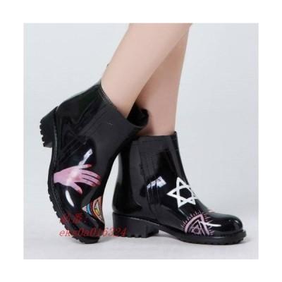 レインブーツ レインショート レディース 雨 ローヒール ブラック おしゃれ 歩きやすい きれいめ 長靴 雨靴 ショートブーツ 黒 人気 履きやすい 防水