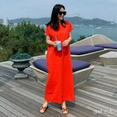 ワンピース シャツワンピース コットン マキシ丈 半袖 無地 ゆったり 体型カバー カジュアル シンプル 韓国