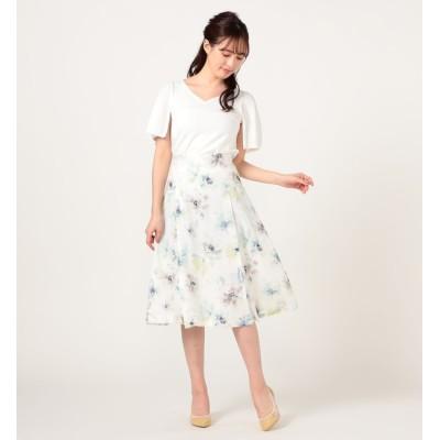 【レッセ・パッセ/LAISSE PASSE】 フラワープリントスカート