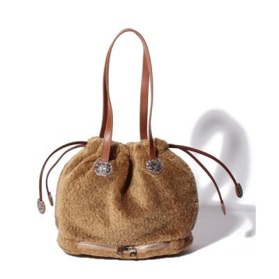 【ツモリチサトキャリー】フェイクムートン巾着バッグ