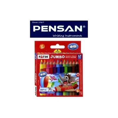 トルコの筆記具メーカー「PENSAN」☆ 鉛筆のキャラクターが描かれたユニークなパッケージ 5mm芯のハーフサイズ太軸色鉛筆12色
