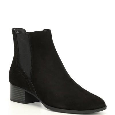 アレックスマリー レディース ブーツ&レインブーツ シューズ Gloriane Suede Chelsea Block Heel Booties Black/Black