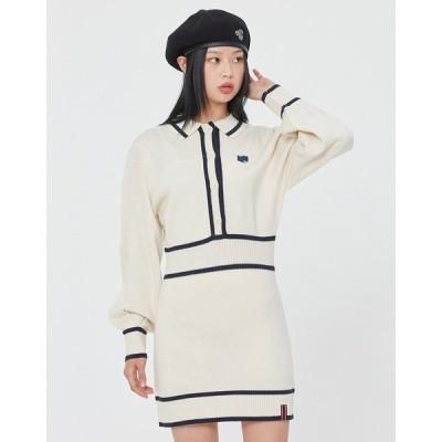 ドレス 『ROMANTIC CROWN/ロマンティッククラウン』BALLOON SLEEVE KNIT DRESS/韓国ブランド バルーンスリーブニッ