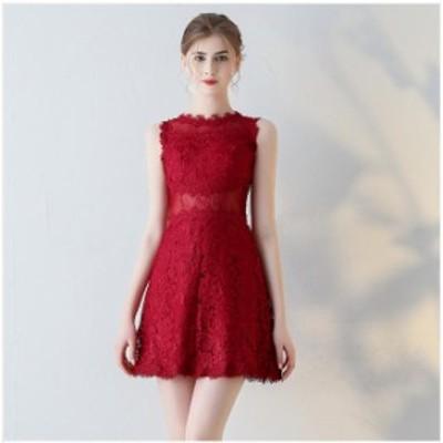 パーティードレスレースAライン発表会ドレス上品膝丈ドレス刺繍ドレス膝丈オシャレレディースドレス