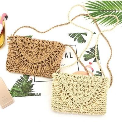 草編み風バッグかごバッグショルダーバッグ小さめレディースバッグ草編み斜め掛けバッグリゾート風森系ポーチ2色