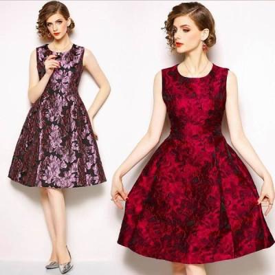 パーティー 披露宴 上品艶感 花柄ジャガード織ドレス ドレス
