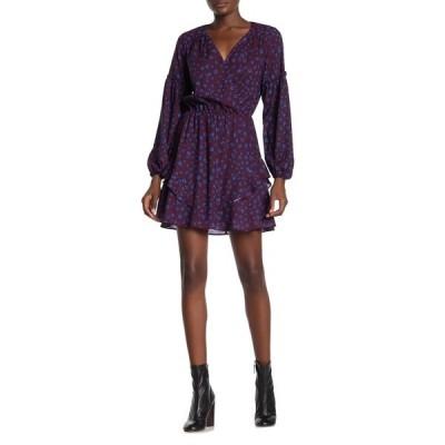 パーカー レディース ワンピース トップス Surplice Printed Mini Dress COBALT LEOPARD