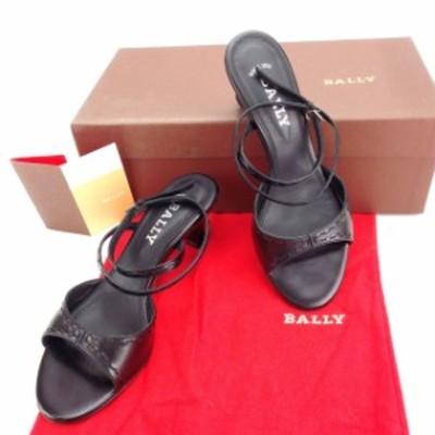 バリー サンダル シューズ 靴 ♯35EU・4ハーフUS アンクルストラップ ブラック×シルバー BALLY 中古 T14032