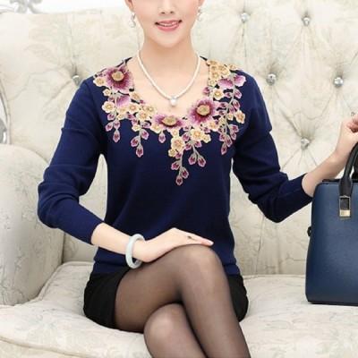 カシミヤ刺繍セーター、パープル
