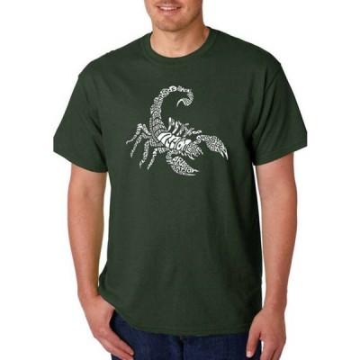 エルエーポップアート メンズ Tシャツ トップス Men's Word Art Graphic T-Shirt - Types of Scorpions