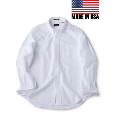 【シップス】 SHIPS×IKE BEHAR: アメリカ製 オックスフォード ボタンダウン シャツ メンズ ホワイト X-LARGE SHIPS