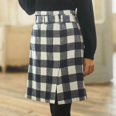 ジーラ GeeRA ベルト付ラップ風台形スカート (クロケイチェック)