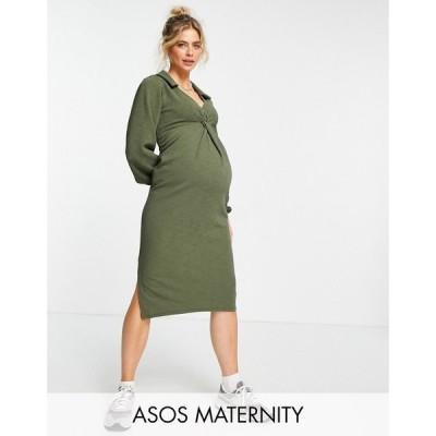 エイソス ASOS Maternity レディース ワンピース マタニティウェア ミドル丈 ASOS DESIGN Maternity front twist shirt midi dress in khaki カーキ