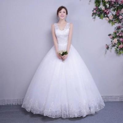 激安 ウェディングドレス ノースリーブ Aライン Vネック ホワイトドレス 花嫁 ウェディングドレス 結婚式 ドレス 披露宴 大きいサイズ