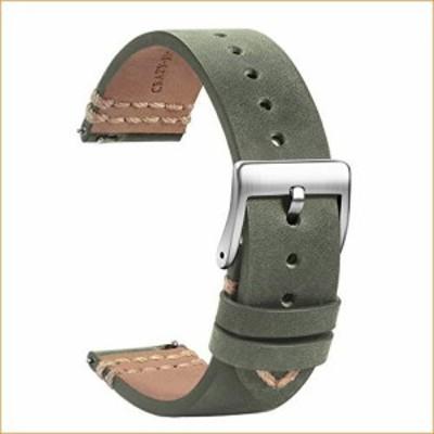 TStrap レザー腕時計バンド 20mm ソフトグレー クイックリリース腕時計ストラップ 交換用 ミリ