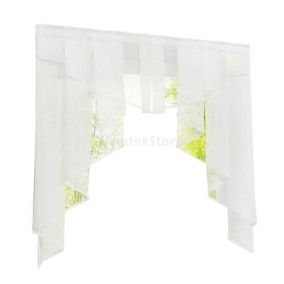 カーテン 不規則な ステッチ プリーツデザイン ロマン 窓カーテン キッチン/バスルーム用 全9色5サイズ可選択 - ホワイト, 100Wx100H