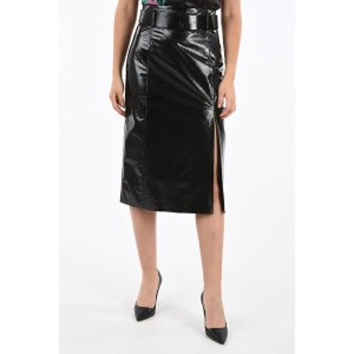 DROME/ドローメ Black レディース Patent Leather Skirt with Skirt dk